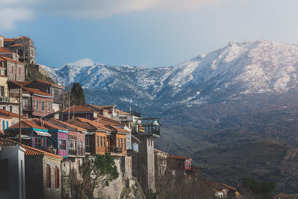 01 Panoramic view of beautiful Molyvos village in Lesvos island