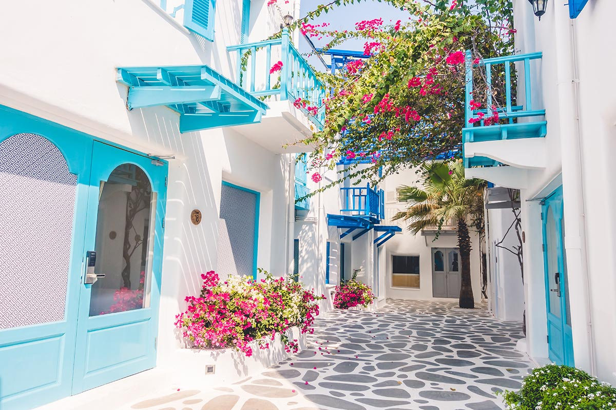 02Beautiful Architecture building Exterior with santorini and greece style