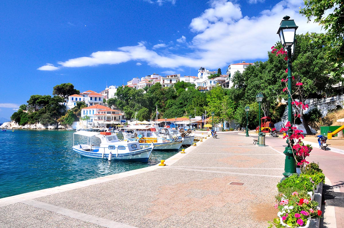 A look on the old port in Skiathos, Greece, Europe