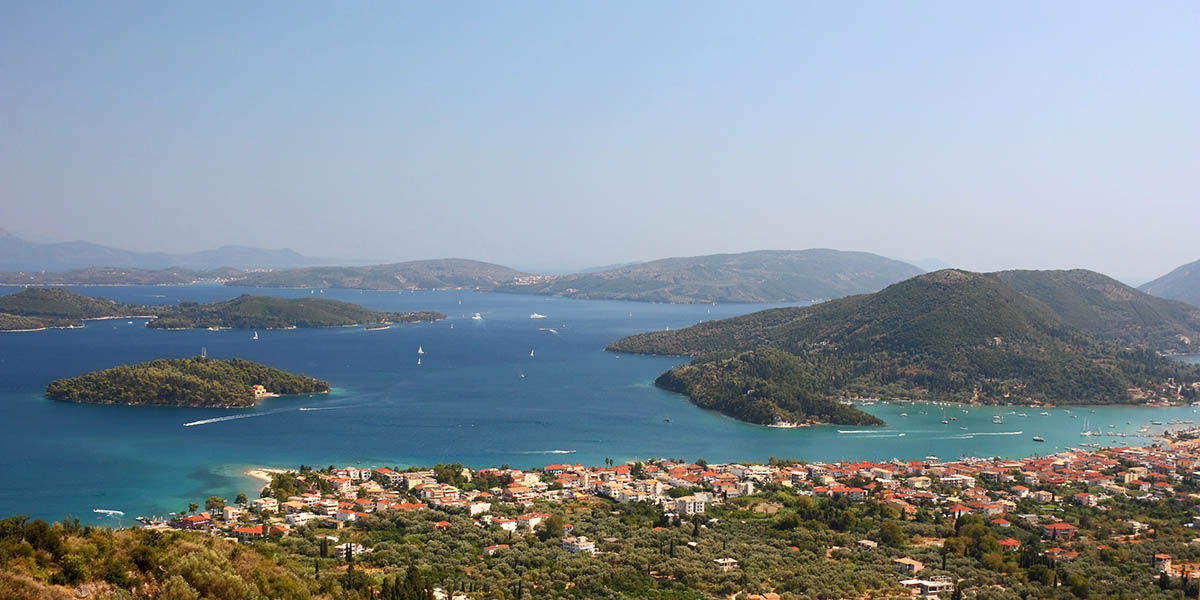 An aerial view of the sea and the little islands at the Nydri coast of Lefkada island