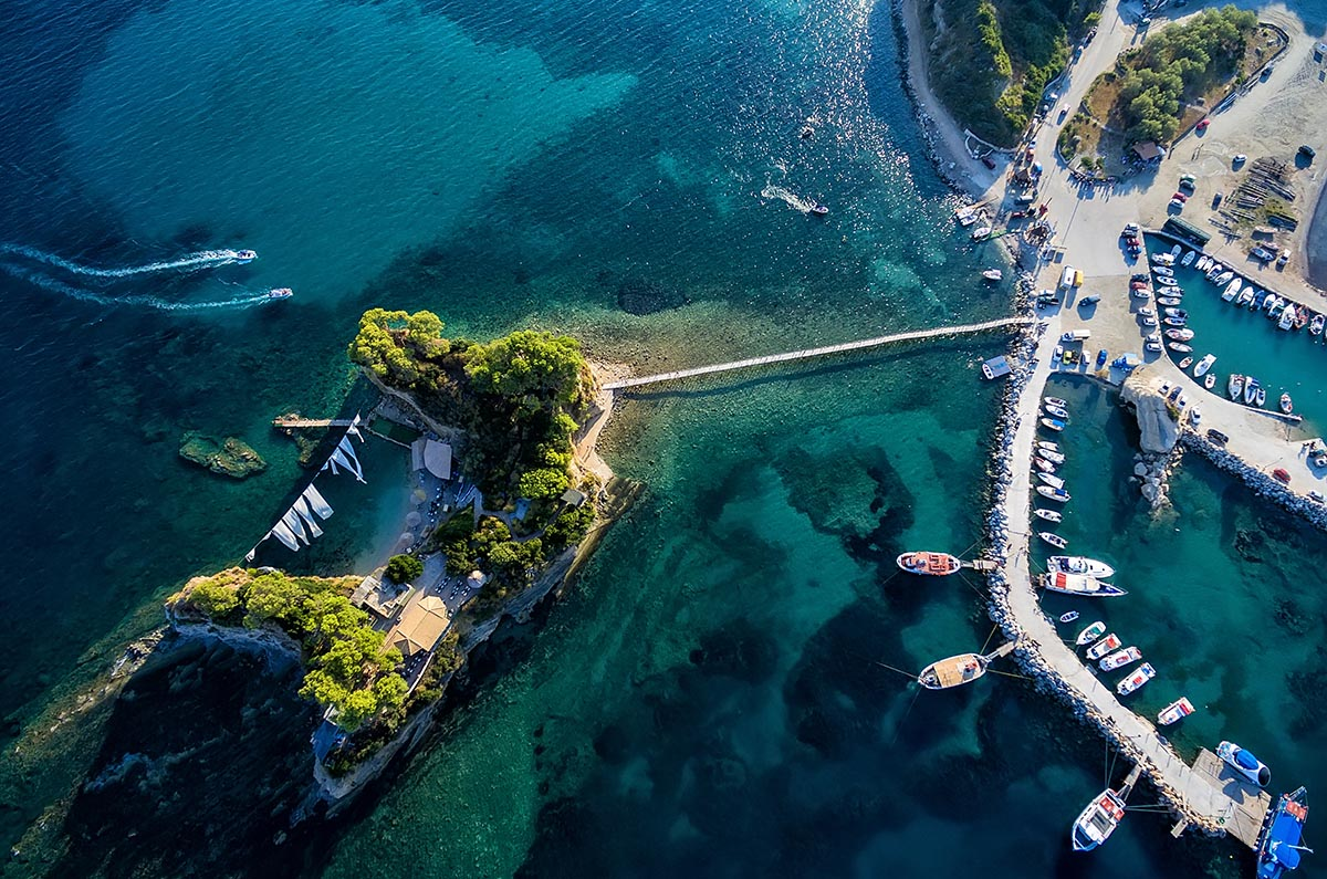 Arial view of Marina with boats on the bay of Zakynthos