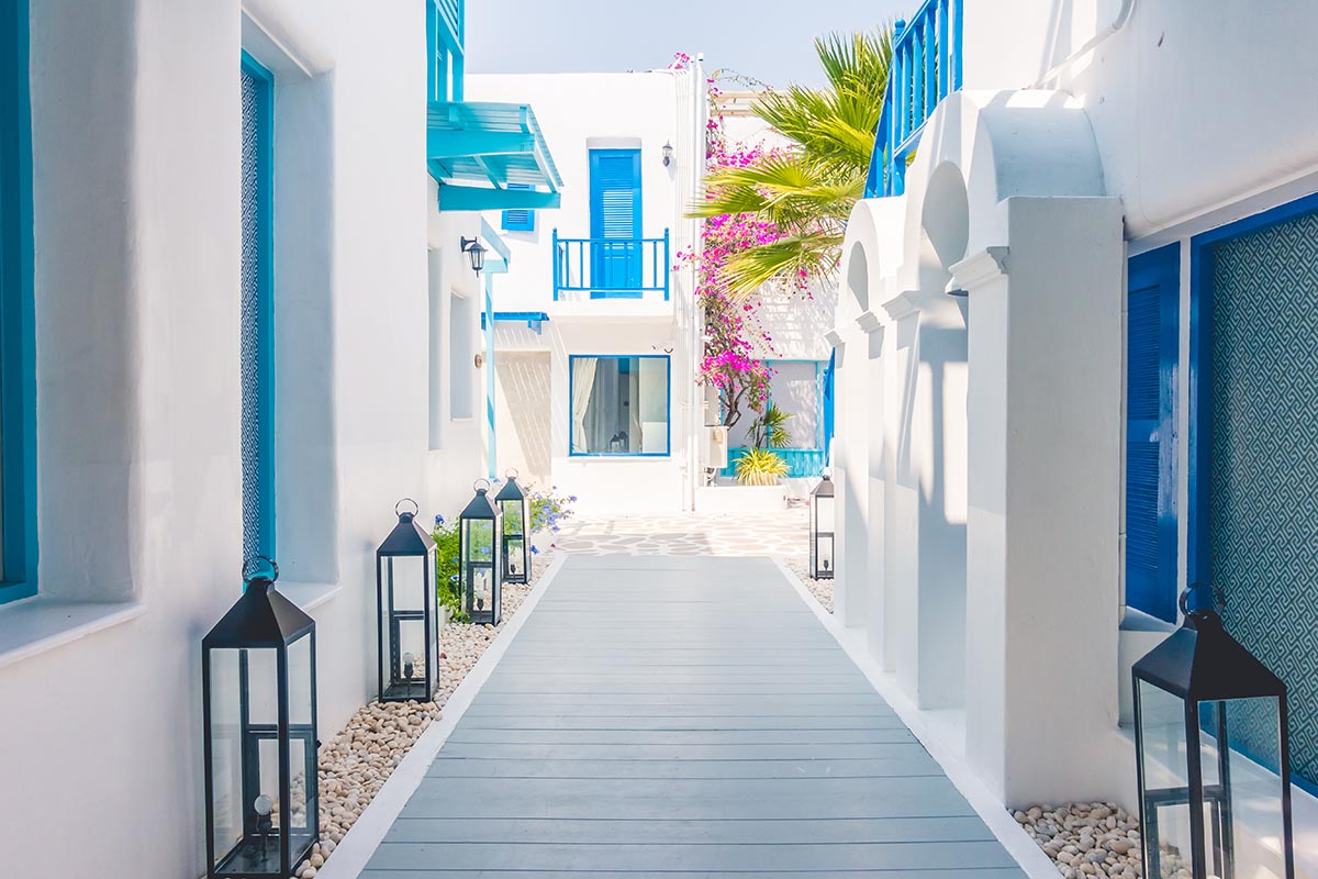 Beautiful Architecture building Exterior with santorini and greece style