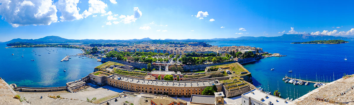 Corfu island panorama as seen from above the old venetian fortress