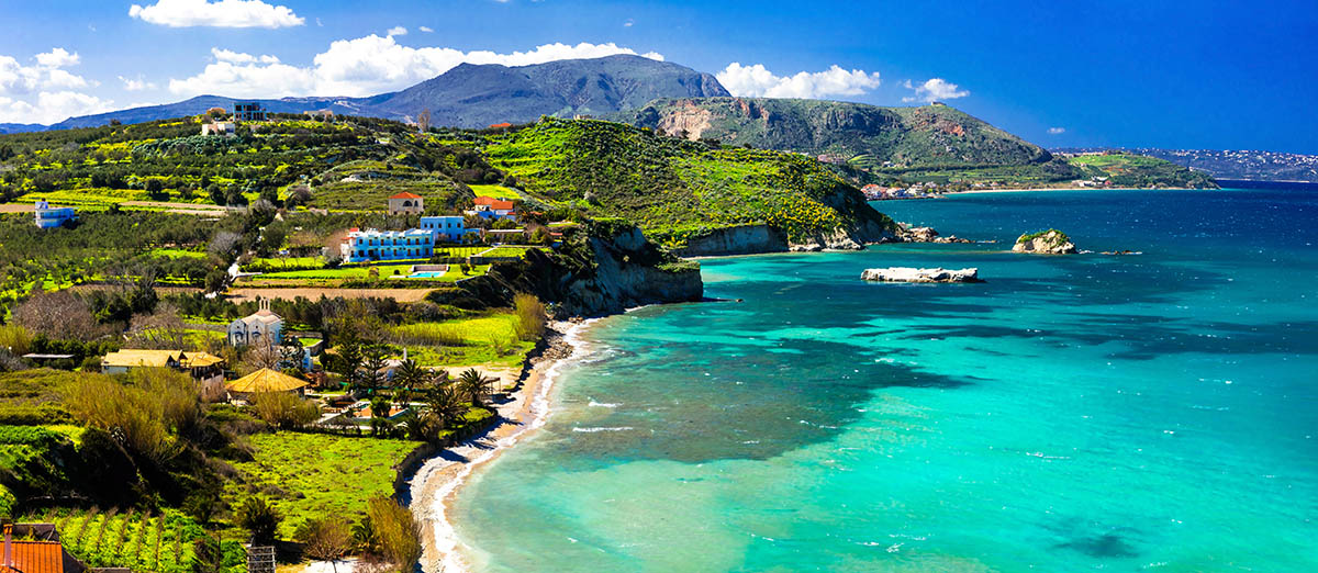 Most beautiful places of Crete island- Almyrida with turquoise beach