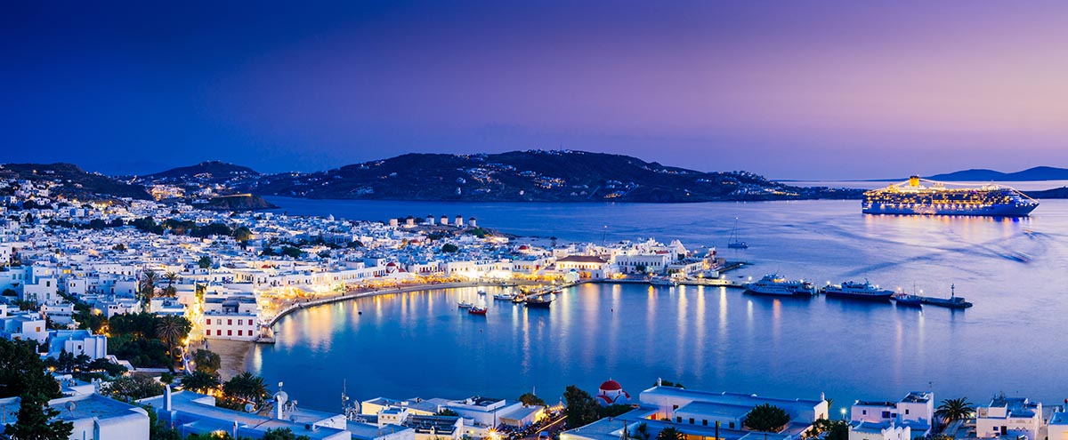 Panorama of Mykonos town in sunset