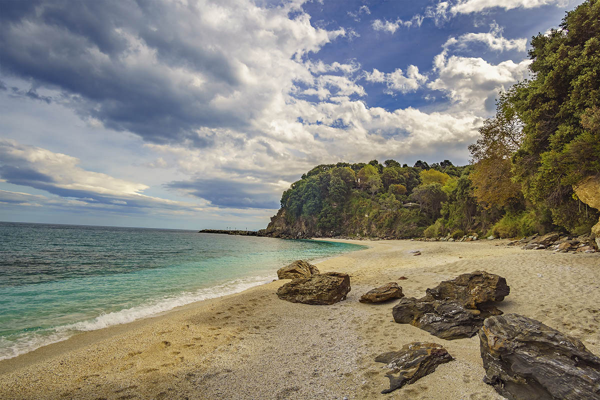 Plaka beach is one of the most amazing beaches in Greece, located near Agios Ioannis at Pelion. Magnesia - Greece.