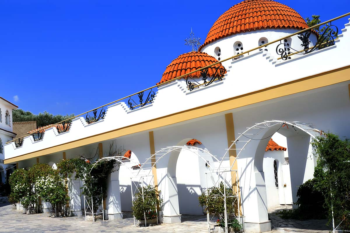 The Greek Orthodox monastery in Mitilinii, Lesvos, which is being rebuilt or renovated.vivid summer colours